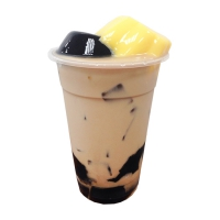 Oolong Milk Tea with Egg Pudding and Grass Jelly