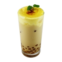 Creme Brulee Milk Tea with Taro and Sweet Potato Balls