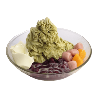 Matcha Snow Ice with Red Beans